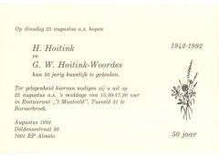 Invitation 50th wedding anniversary of Henk Hoitink and Mien Woordes