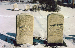 Graves of Hermanus Piek and Johanna Catharina Bekerink in Clymer Hill Cemetery, Clymer, NY.