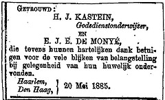 Announcement marriage Hendrik Jan Kastein and Cornelia Johanna Elisabeth de Monye.