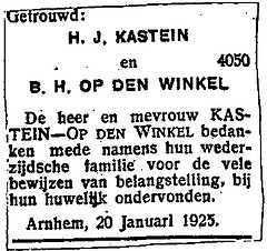 Announcement marriage H.J. Kastein and B.E. Op den Winkel