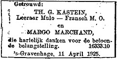 Announcement marriage Theodoor Gerhard Kastein and Margaretha Charlotte Barnardine Marchand