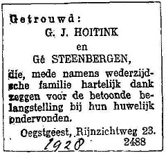 Announcement marriage Gerrit Jan Hoitink and Ge Steenbergen