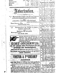 Marriage announcement of Antonie Christiaan Walvoort and Johanna Gertrui Veldhorst (Nieuwsbode)
