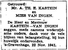 Announcement marriage A.Th.E. Kastein and Mies van Ingen