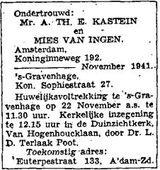 Announcement marriage banns A.Th.E. Kastein and Mies van Ingen