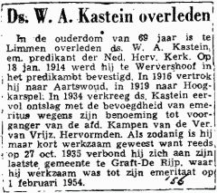 Newspaper account about the death of W.A. Kastein