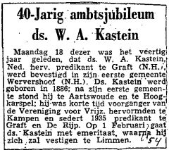 Newspaper article about the 40th anniversary of W.A. Kastein as a minister.