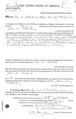 Land patent of J.A. Willink purchasing land in Allegan County, MI